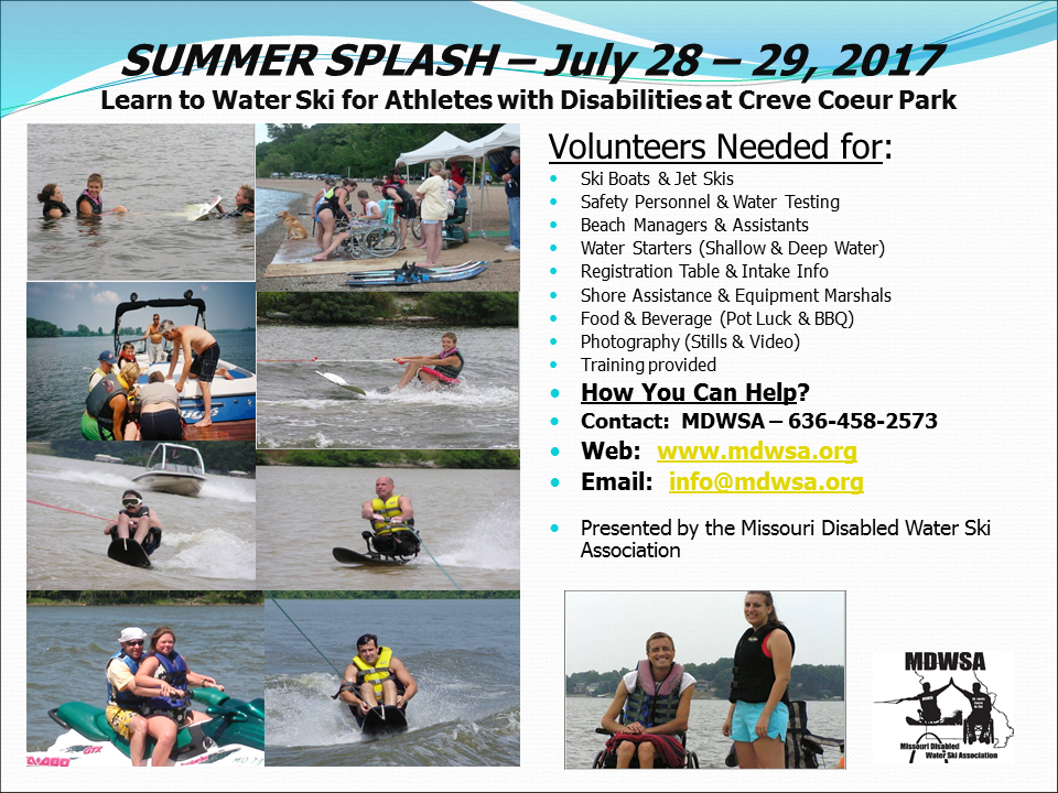 SUMMER SPLASH CALL FOR VOLUNTEERS